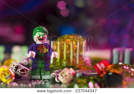 Magnitogorsk, Russia - April 10, 2018: Figurine Of The Joker, Who Is A Fictional Character Appearing