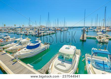Cascais, Portugal - August 6, 2017: Yacht And Motor Boats Docked At Cascais Marina. The Marina Is Lo