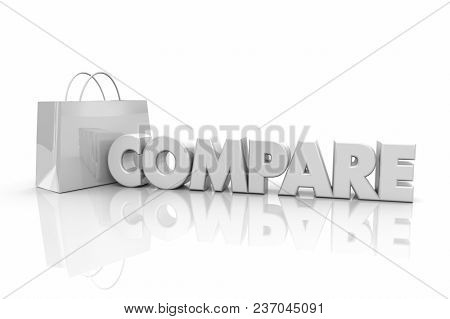 Compare Shopping Bag Browsing Best Price Word 3d Illustration