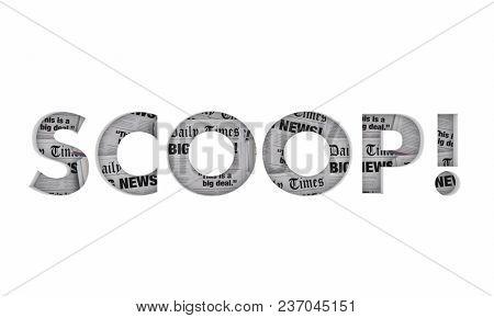 Scoop Word News Headlines Big Announcement 3d Illustration