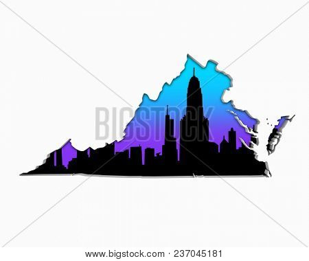 Virginia VA Skyline City Metropolitan Area Nightlife 3d Illustration