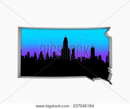 South Dakota SD Skyline City Metropolitan Area Nightlife 3d Illustration