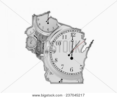 Wisconsin WI Clock Time Passing Forward Future 3d Illustration