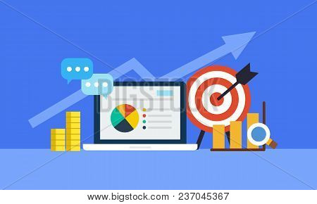 Online Marketing Concept. Strategy And Report Of Online Shopping Or Online Campaign Flat Icon. Vecto