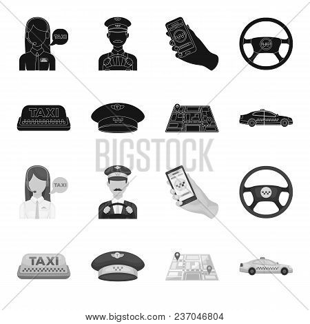 Yellow Taxi Inscription, A Cap With A Taxi Badge, A Map With A Mark, A Car With Checkers. Taxi Set C