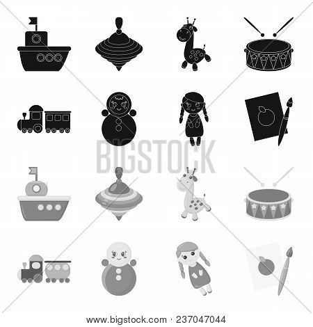 Train.kukla, Picture.toys Set Collection Icons In Black, Monochrome Style Vector Symbol Stock Illust