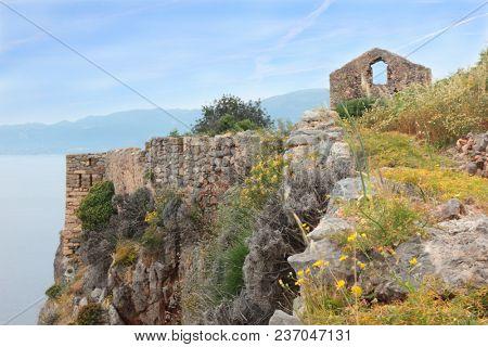 Ruins of ancient Greek town Monemvasia at coast