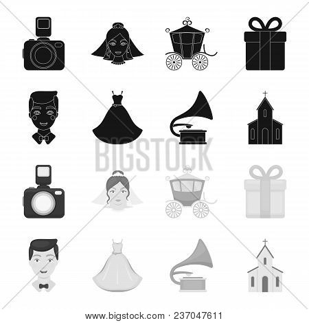 Wedding Dress, Groom, Gramophone, Church. Wedding Set Collection Icons In Black, Monochrome Style Ve
