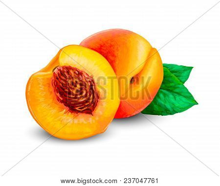 Realistic Ripe Peaches, Whole And Slice. Peach Juicy Sweet Fruit Isolated On White Background. Photo