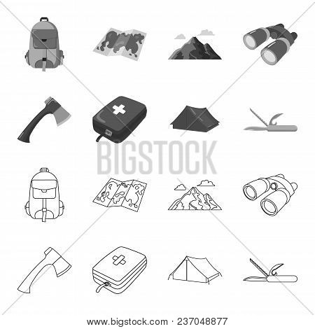 Ax, First-aid Kit, Tourist Tent, Folding Knife. Camping Set Collection Icons In Outline, Monochrome