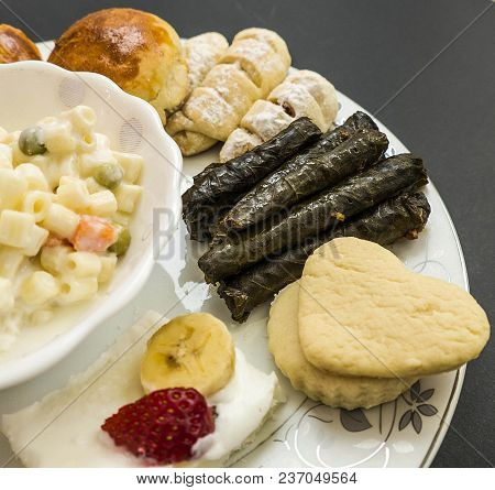 Snacks In A Plate, Pastry, Pastry, Leaf Wrapping, Ravioli,