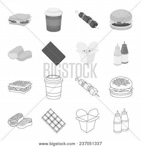 Chocolate, Noodles, Nuggets, Sauce.fast Food Set Collection Icons In Outline, Monochrome Style Vecto