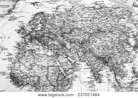 Part Of A Detailed World Map, Which Depicts The Continents, Seas, Oceans, Names Of Countries, Their