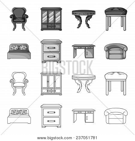 Interior, Design, Bed, Bedroom .furniture And Home Interiorset Collection Icons In Outline, Monochro