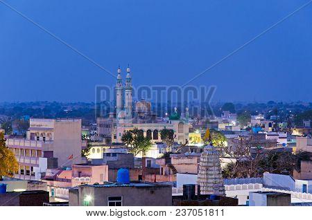 Mosque At Night At Mandawa Town In Shekhawati Province, Jhunjhunu District, Rajasthan, India.