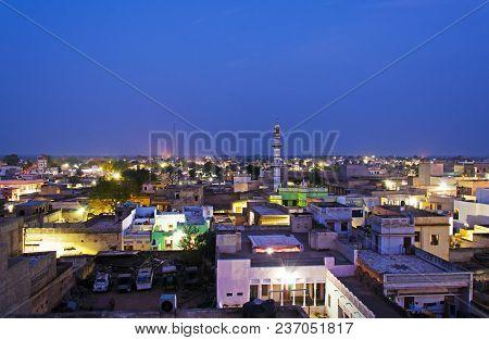 Night View Of Mandawa Town In Shekhawati Province, Jhunjhunu District, Rajasthan, India.