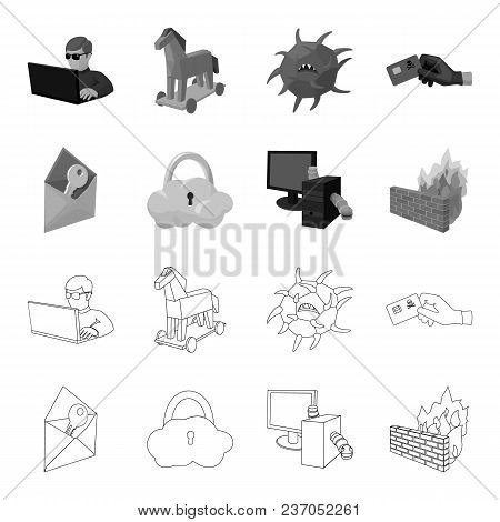 System, Internet, Connection, Code .hackers And Hacking Set Collection Icons In Outline, Monochrome