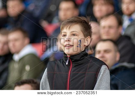 Minsk, Belarus - April 7, 2018: Fc Dynamo Minsk Fans During The Belarusian Premier League Football M