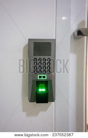 Fingerprint Scanner Device For Identifying Verification Person On White Background