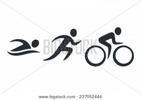 Triathlon Activity Icons - Swimming, Running, Bike. Simple Sports Pictogram Set. Isolated Vector Log