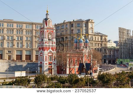 Moscow, Russia - April 15, 2018: Temple Of The Great Martyr St. George The Victorious Of The Interce