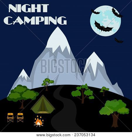 Camp Adventure Night Travel Nature Tent Tourism. Vector Illustration Fire Landscape Vacation Outdoor