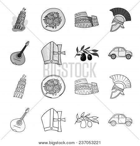 Mandolin, Papa, Olive, Retro Auto.italy Country Set Collection Icons In Outline, Monochrome Style Ve