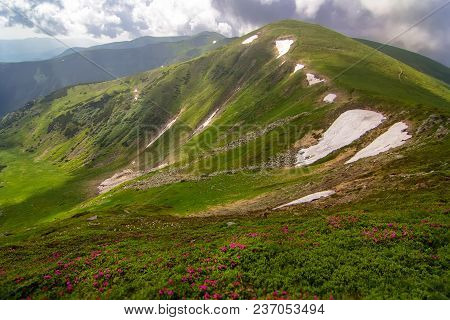 Spring In The Carpathian Mountains. Snow On Tops. Ukraine