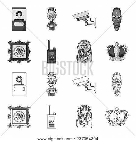 Picture, Sarcophagus Of The Pharaoh, Walkie-talkie, Crown. Museum Set Collection Icons In Outline, M