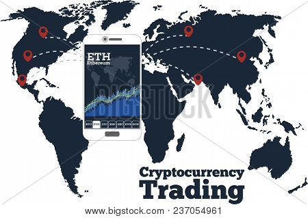 Cryptocurrency Trading Concept With Online Chart On Smartphone Screen. Digital Money, Blockchain Tec