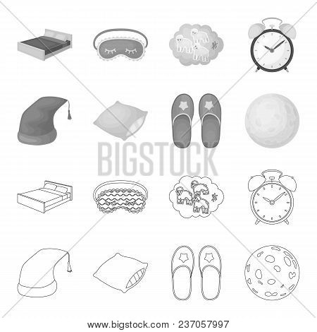 Night Cap, Pillow, Slippers, Moon. Rest And Sleep Set Collection Icons In Outline, Monochrome Style