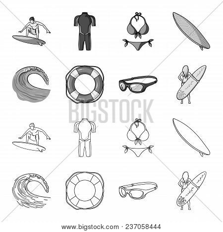 Oncoming Wave, Life Ring, Goggles, Girl Surfing. Surfing Set Collection Icons In Outline, Monochrome