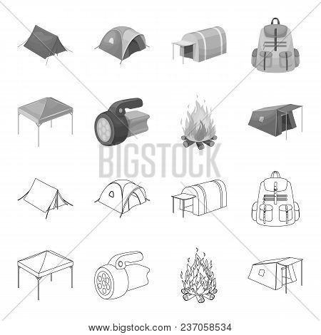 Awning, Fire And Other Tourist Equipment.tent Set Collection Icons In Outline, Monochrome Style Vect