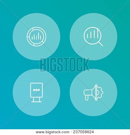 Set Of 4 Advertising Icons Line Style Set. Collection Of Market, Loudspeaker, Billboard And Other El