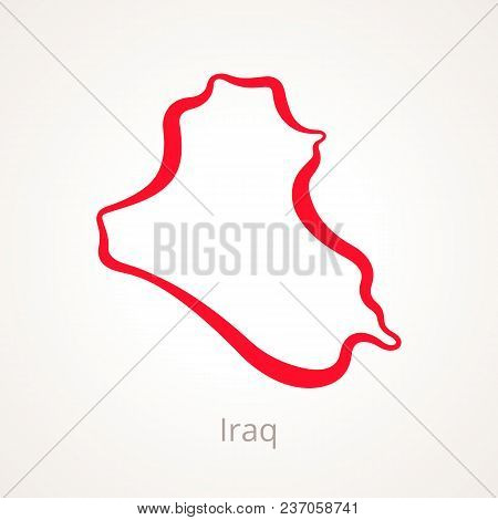 Outline Map Of Iraq Marked With Red Line.