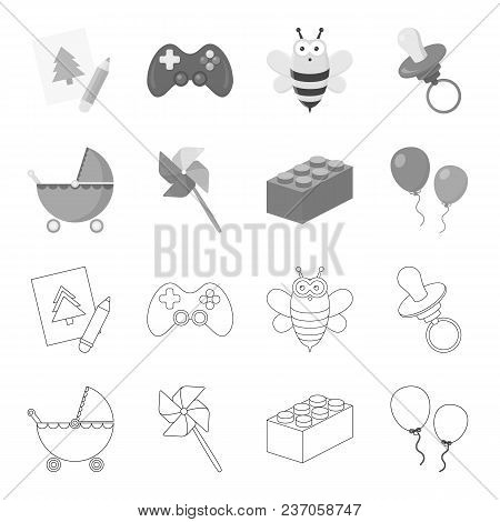 Stroller, Windmill, Lego, Balloons.toys Set Collection Icons In Outline, Monochrome Style Vector Sym