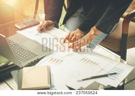 Businessmen Agree To Partner In The Trade Select Focus,accountant Working At Office Blurry,manager P