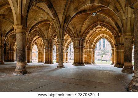 Glasgow, Scotland, Uk - March 13, 2018:the Cloisters (also Known As The Undercroft) - Iconic Part Of