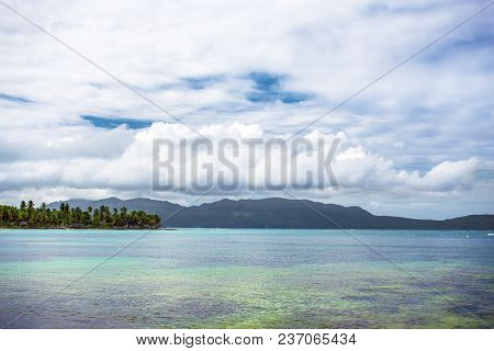 Scenic View Over The Atlantic Ocean, Blue Sky With White Clouds. Samana, Dominican Republic