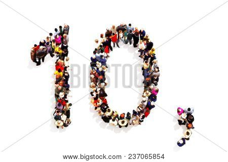People Forming The Shape As A 3d Number Ten (10) And A Comma Symbol On A White Background. 3d Render