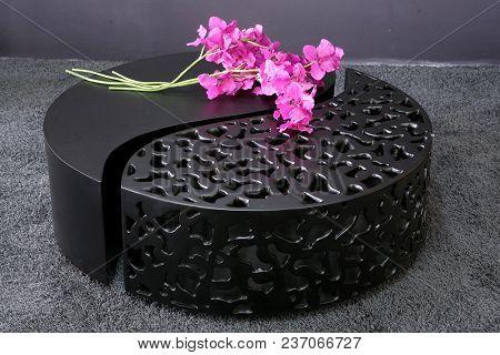 Black Table, Modern Interior Detail, Pink Flower