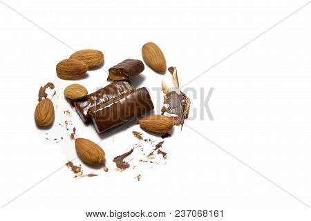 Almond Candy On A White Background. Candy Melted In Your Mouth