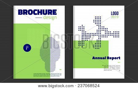 Vector Brochure Cover Template With Dotted Icons. Business Brochure Cover Design, Flyer Brochure Cov
