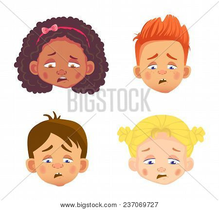 Emotions Of Childs Face. Facial Expression Vector Illustration