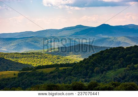 Beautiful Rolling Hills Of Carpathian Mountains. Lovely Summer Landscape, Bird Eye View
