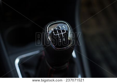 Manual Transmission Gear Shift, On Dark Background.