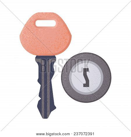 Hotel Room Key And Keyhole With Spray Scatter Effect And Grunge Texture. House Security Safety Tool