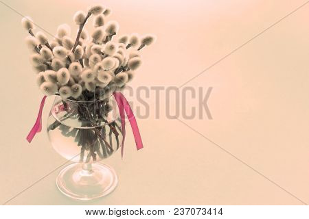 Surrealism Festive Arrangement In A Glass Vase With Twigs Catkins. Bright Candy Garlands On A Pink B