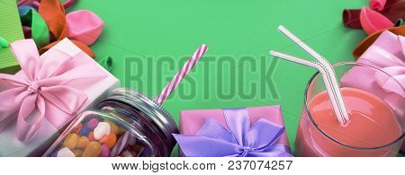Banner Festive Composition Set Of Gift Boxes With Balls Candy Cocktail Materials. Top View Copy Spac