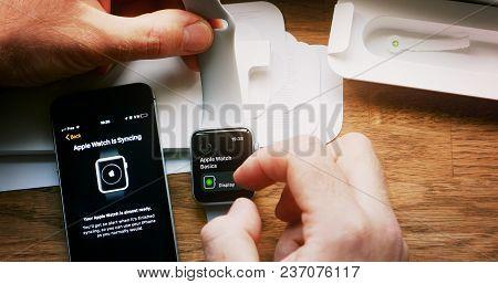 Paris, France - Apr 12 2018: Hands Pov Man Unboxing Unpacking Latest Apple Watch Series 3 Gps Lte Sm